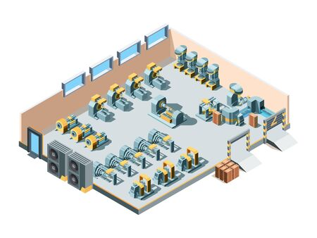 Industrial building. Isometric factory interior production heavy steel machines mechanic manufacturing equipment engineering vector. Illustration factory industry, equipment industrial inside