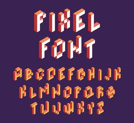 Pixel font. Retro block alphabet game in retro style 90s cubic letters vector isometric font. Illustration alphabet block letter type 3d Vektorové ilustrace