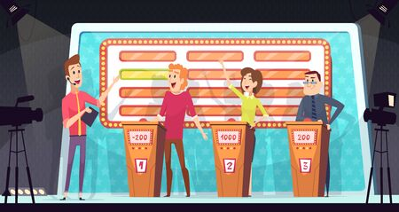 Quiz tv show. Smart competition with three players answered question entertainment tournament television game vector background. Competition tv show, quiz contest player, smart playing illustration Çizim