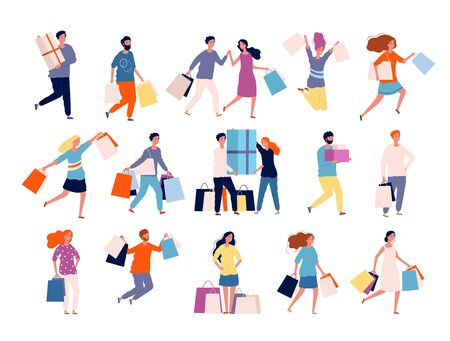 Shopping characters. People in market boutique store buyers discount crazy shopping vector persons. Illustration customer shopping, shopper with purchase and package