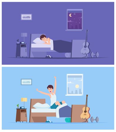 Wake up man. Joyful happy morning sleeping male person stretching in bad sitting on mattress vector peaceful characters. Wake up morning, happy male awake early illustration