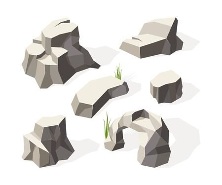 Rotsen isometrisch. Grijze stenen voor muurconstructieblok graniet minerale vectorrotsen oppervlak. Illustratie bergmineraal, natuurlijke massieve steen