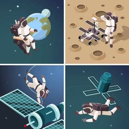 Space illustrations. Astronauts outdoor planet surface space orbit floating spaceship discovery universe vector isometric backgrounds. Spaceman on moon and fly around earth illustration