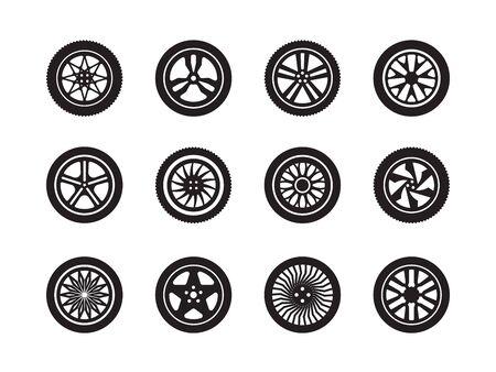 Koła samochodu. Kształty opon transportu koła sylwetki wektor kolekcja symboli pojazdu. Ilustracja koło samochodowe opony, sylwetka gumowa opona samochodowa