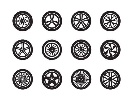Wheels car. Tire shapes transport wheels silhouettes vector vehicle symbols collection. Illustration tire automobile wheel, silhouette rubber tyre car Ilustrace