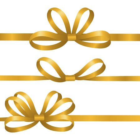 Gold silk ribbons. Satin bows vector elements. Realistic ribbons for gift wrapping isolated on white background. Bow satin or silk to birthday gift illustration