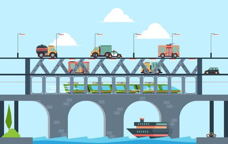 Paesaggio con ponte. Ponte della strada principale del camion di velocità con l'illustrazione del fondo del fumetto di vettore delle automobili. Autostrada stradale sul fiume per il traffico dei trasporti