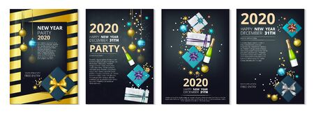 New Year party banners. 2020 Year eve invitation templates. Vector festive cards with gifts, confetti, glass balls. Poster holiday greeting christmas, celebration invitation new year 2020 illustration