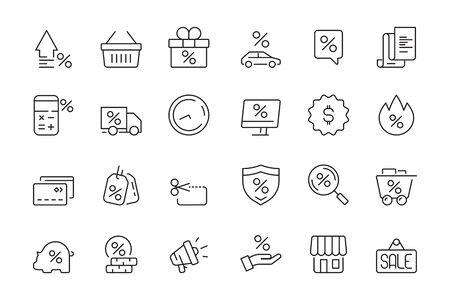 Discount icon. Market product sale leasing interest rates vector collection. Discount sale and rate interest, percentage off illustration Illustration