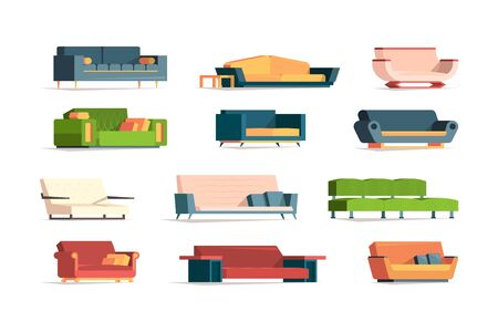 Soft furniture. Divan fabric couch simple set front view interior furniture armchairs vector flat pictures. Illustration soft sofa interior, divan and couch furniture with pillow Illustration