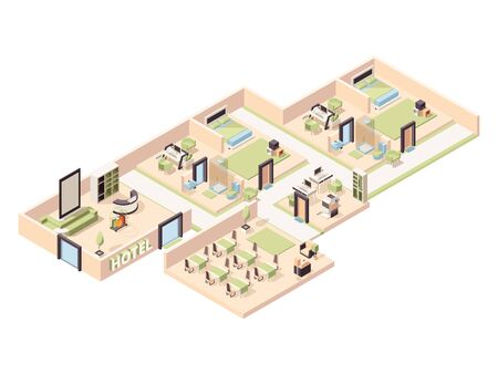 Hotel interior. Modern luxury hotel rooms lounge zone pool comfortable restaurant bathroom parking vector isometric. Interior hotel cross-section, apartment and lounge illustration