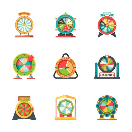 Wheel fortune. Lucky circle symbols roulette casino gambling game vector fortune icons flat style. Jackpot lucky wheel fortune, lottery roulette game illustration