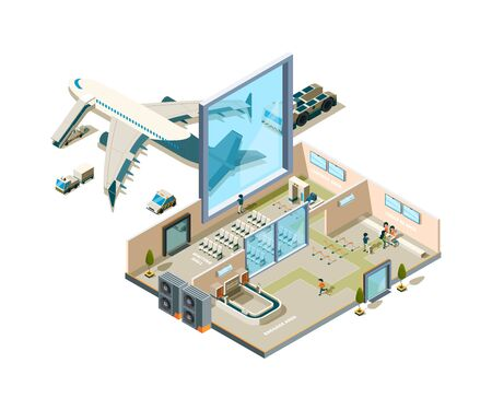 Airport terminal building. Vector crossection arrival interior entrance security service caffe luggage conveyor stores vector airport equipment. Airport departure and arrival terminal illustration