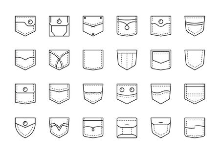 Pocket patches. Textile uniform pockets shapes for clothes bag vector pictures collection. Pocket and patch for jacket and jeans illustration