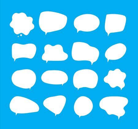 White bubbles talk. Speech bubbles different shapes on blue background comment clouds shouting voice vector pictures. Comic bubble talk and communication, cloud communicate speak illustration