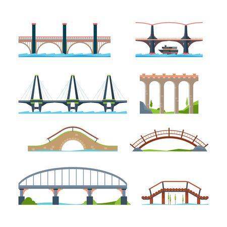 Ponts plats. Pont d'objets urbains architecturaux avec des images vectorielles de colonne ou de faisceau d'aqueduc. Viaduc de construction de route d'illustration et pont avec colonne