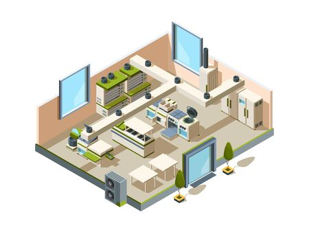 Restaurant kitchen. Cafe interior with furniture equipment for cooking and making food steel tables refrigerators ovens vector isometric. Interior kitchen restaurant with equipment cook illustration Vecteurs