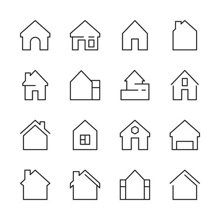 House icon. Web symbols buildings interior garage doors roof house vector linear template. House apartment, architecture residential home illustration