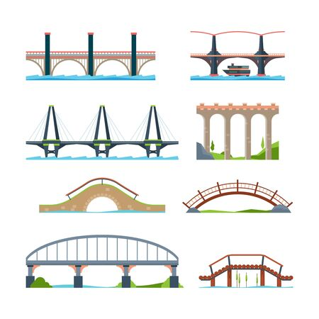 Bridges flat. Architectural urban objects bridge with column or aqueduct beam vector pictures. Illustration road building viaduct and bridge woth column
