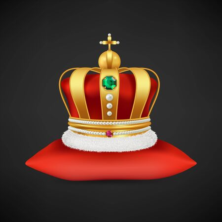 Royal crown vector. Realistic luxury gold symbol of monarchy, antique diadem with diamonds on red pillow illustration. Crown king or queen, gold luxury element