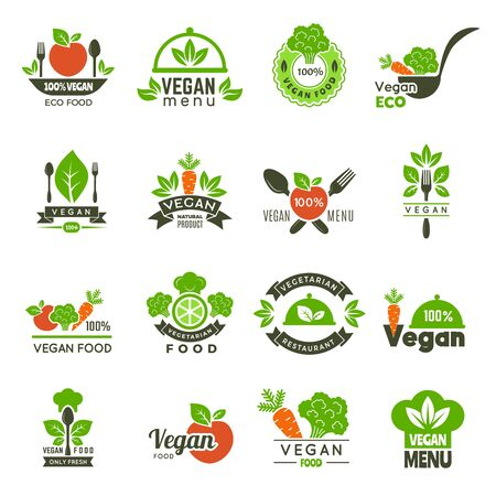 Vegan emblem. Fresh eco healthy food market vegetarian emblems green ecology vector symbols isolated. Illustration vegetarian menu logo, bio eco food Ilustracja