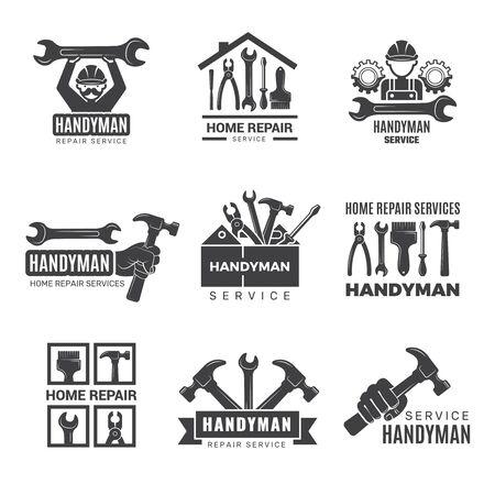 Handwerker-Logo. Arbeiter mit Ausrüstungswartungsabzeichen Schraubendreher Hand Auftragnehmer Mann Vektorsymbole. Ausrüstung für Reparatur- und Baulogo, Service-Logo-Toolbox-Illustration Logo