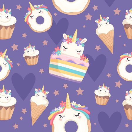 Unicorn pattern. Dessert decoration magic pony with cupcakes donut sweets vector celebration seamless background. Illustration unicorn pony sweets, waffle cone wrapping