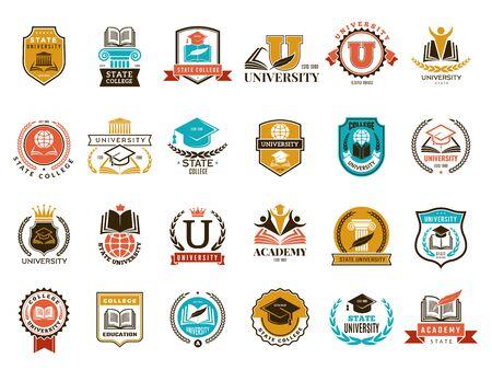 Emblema de la universidad. Insignias de símbolos de identidad escolar o universitaria y colección de vectores de logotipos. Colegio y escuela, emblema de la universidad ilustración
