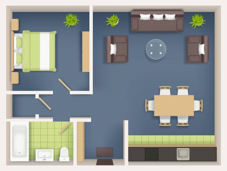 Interior plan top view. Realistic appartment livingroom bathroom badroom furniture table wardrobe sofa chairs tables vector realistic. Illustration interior top view, furniture plan living room Ilustracja