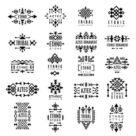 Logotipos tribales. Diseño de vector de símbolos ornamentales tradicionales de identidad de decoración nativa azteca. Ilustración logotipo tribal, moda de adorno de patrón indio para minoristas étnicos
