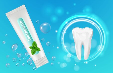 Mint toothpaste background. Vector dental poster design. Realistic toothpaste tube and teeth. Illustration toothpaste mint and tooth Ilustracja