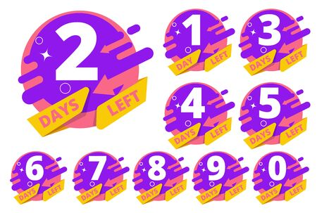 Days left. Countdown hours clock time business badges vector template colored set. Countdown day left badge, timer sale illustration