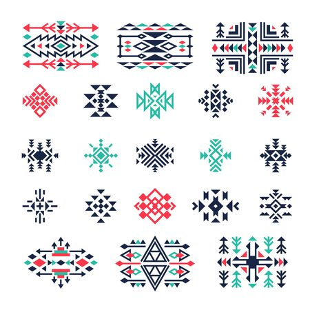 Ethnic geometrical symbols. Tribal mexican aztec american triangle indian shapes and forms vector decoration. Mexican and aztec, native ethnic geometric illustration