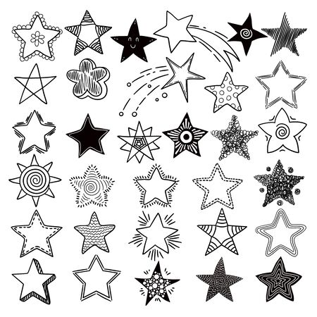 Stars. Space symbols planets elements hand drawn collection space stars vector doodle pictures. Sstar and celestial sketch asterisk illustration Ilustracja