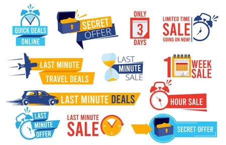 Discount badges. Advertizing promo offers last chance sales alarm and clocks best deals signs vector collection. Illustration label price, promotion discount, promo business sale Ilustracja