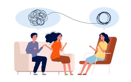 Doctor help pattient. Mental treatment problems vector psychology concept. Illustration psychology couple treatment, psychotherapy help
