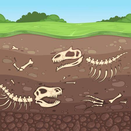 Ossa di archeologia. Ossa di dinosauro sotterranee strati di terreno sepolto argilla vettore del fumetto. Scheletro di dinosauro in terra, teschio antico Vettoriali
