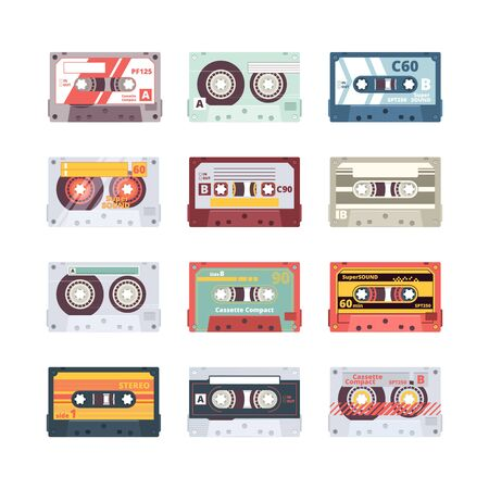 Music cassettes. Electronics audio player mixtape 80s technologies stereo record radio vector flat pictures. Illustration cassette multimedia, equipment old media