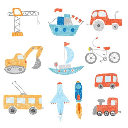 Children drawing. Kids painting transport cars tractors ship plane toys doodle vector hand drawn collection. Child doodle bus and automobile, colorful picture excavator illustration