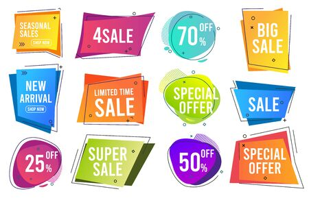 Sale banners. Trendy color modern line banners promo labels drop prices vector template collection. Sale and price discount, best offer icon illustration