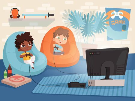 Video game room. Kids at sofa playing at console game with two gamepad controllers and tv interior of childrens home vector background. Illustration video game, boy and girl gaming console Illusztráció