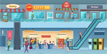 Mall interior. Retailers hypermarket commercial shopping big hall windows vector cartoon illustration. Hypermarket store and shop interior, supermarket grocery