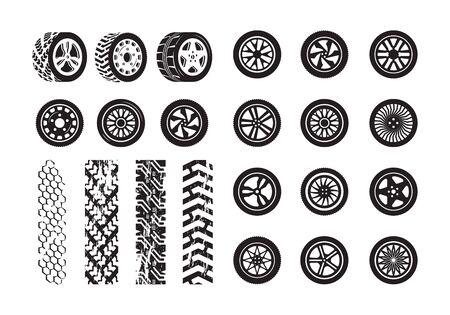 Tire texture. Car wheel rubber tires picture silhouettes vector template. Illustration tire and wheel rubber silhouette car Ilustracja