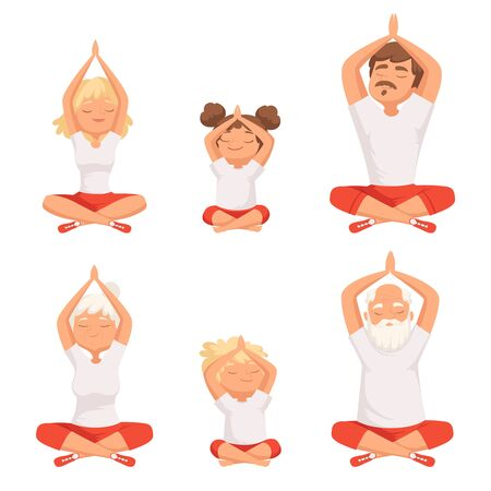 Yoga family. Parents and kids making exercises of yoga and meditation pose buddhism elderly male and female vector pictures. Family doing yoga, grandfather and grandmother meditate illlustration Ilustracja