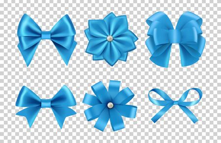 Blue satin bows. Silk ribbon bows vector with pearls isolated on transparent background. Satin bow and silk decoration to celebration illustration Illustration