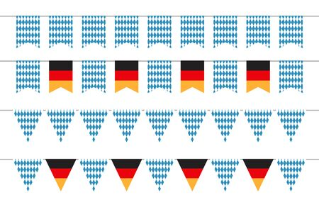 Oktoberfest garlands. Oktoberfest bunting flags. Bavarian and german banners vector set. Illustration oktoberfest bavarian and germany festival, celebration traditional beer fest