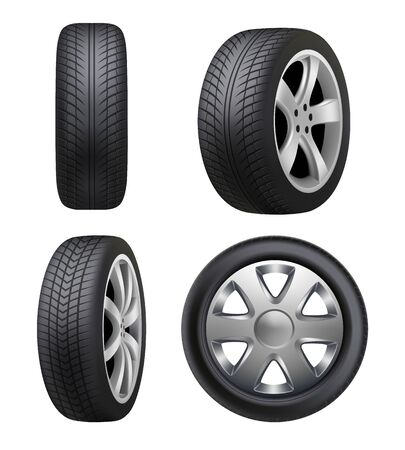 Tyres realistic. Automobile wheeling vector tyres for cars pictures isolated. Illustration tyre automobile, wheel auto rubber, car vehicle transportation