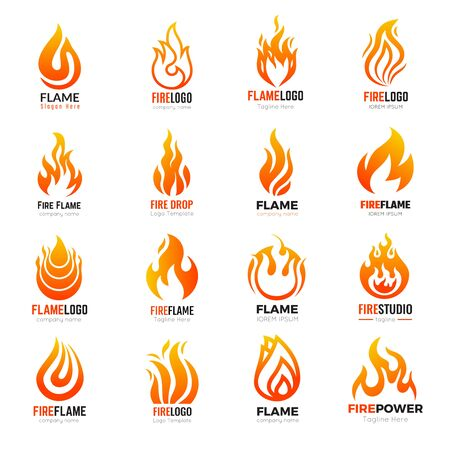 Fire logo. Burning flame hot vector symbols collection business identity. Illustration fire logo, hot orange blaze