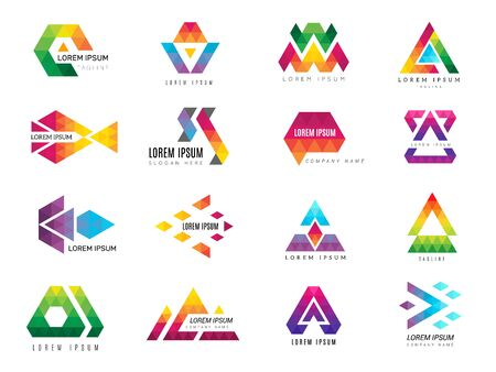 Triangle logo. Business advertizing template polygonal colored symbols of identity vector pictogram collection. Triangle business graphic, geometric template logo, logotype geometry illustration