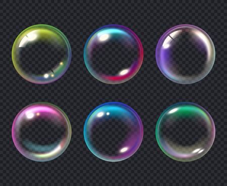 Soap bubbles. Liquid macro water bubble vector collection. Bubble soap, air transparent multicolored sphere illustration Ilustracja
